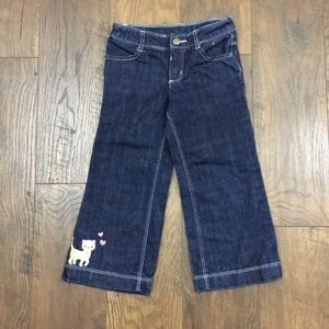 Gymboree bootcut  jeans with kitten on the hem